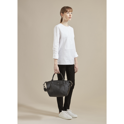 Le Pliage Cuir Top handle bag S, Sienna