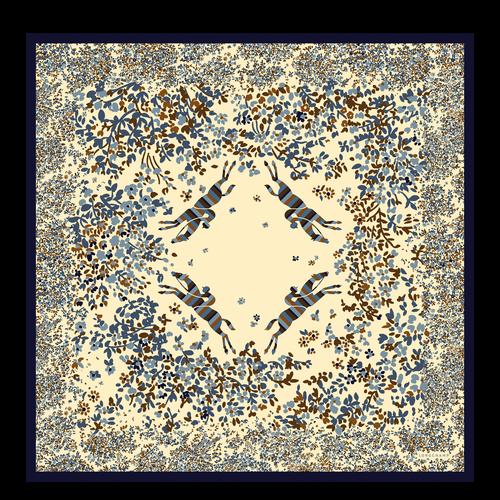 Vue 1 de Carré de soie, Bleu Jean, hi-res