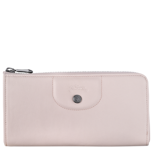 Le Pliage Cuir Long wallet with zip around, Pale pink