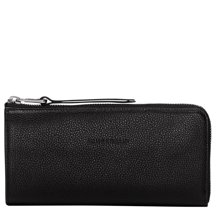 Le Foulonné Long wallet with zip around, Black