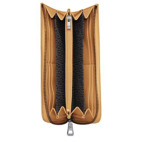 Le Pliage Cuir Long wallet with zip around, Honey