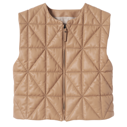 Fall-Winter 2021 Collection Sleeveless Jacket, Beige