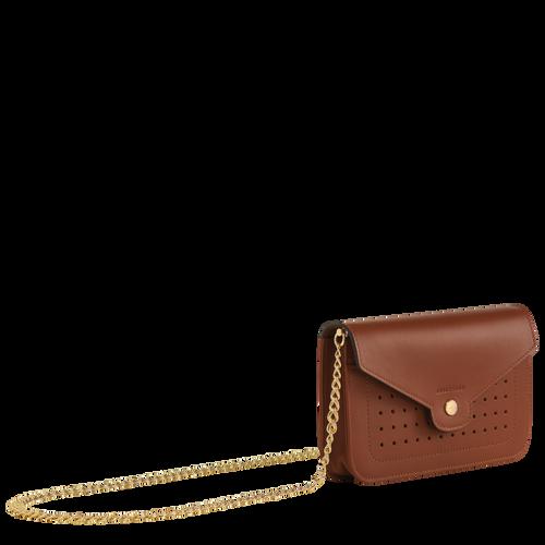 Mademoiselle Longchamp 系列 鍊帶錢包, 白蘭地酒色