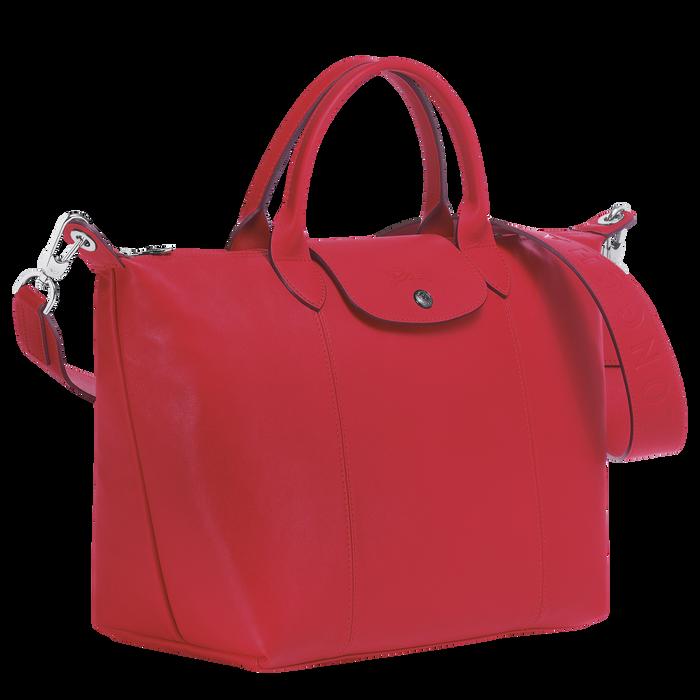 Le Pliage Cuir Bolso con asa superior M, Rojo Kiss