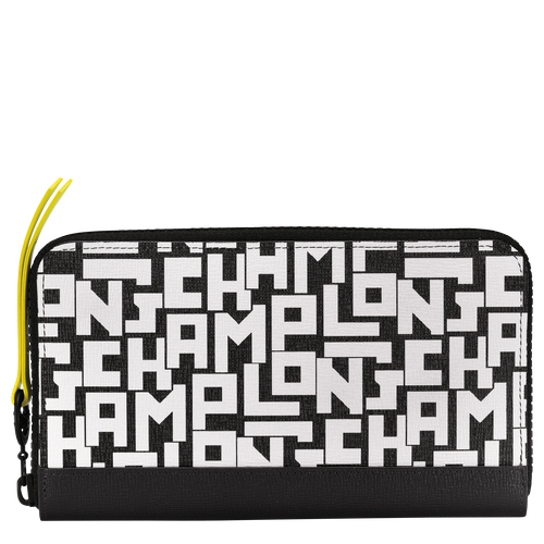 Long zip around wallet, Black/White, hi-res - View 1 of 2