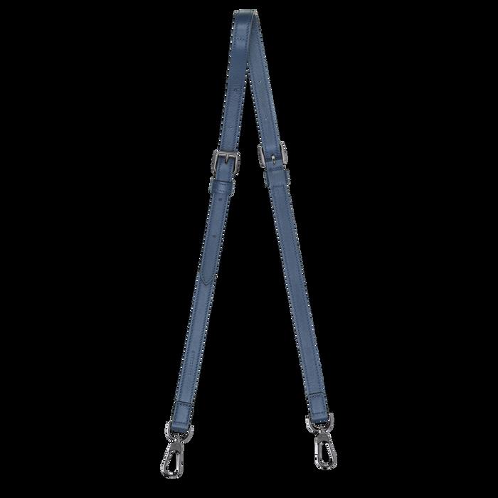 Le Pliage Cuir Leather shoulder strap, Pilot blue