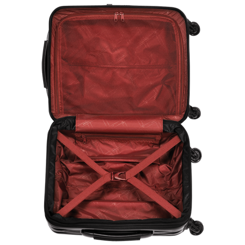 Small wheeled suitcase, Black/Red lacquer, hi-res - View 3 of 3