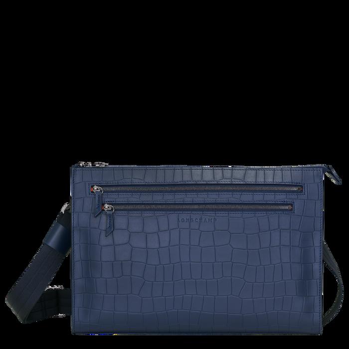 Croco Block Crossbody bag L, Navy