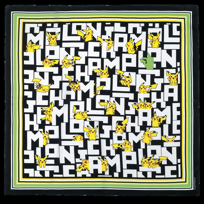 シルクスカーフ 50x50, ブラック/ホワイト - ビュー 1: 1 - 拡大