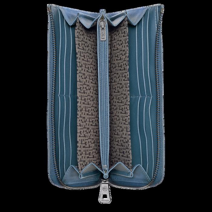 Le Pliage Cuir Portafogli lungo con cerniera tutto intorno, Blu avio