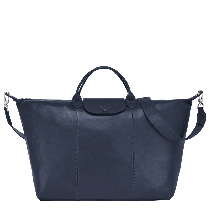 Le Pliage Cuir Travel bag L, Navy