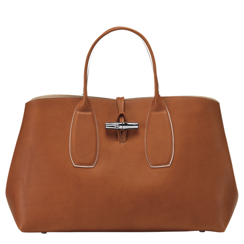 Roseau Top handle bag L, Cognac