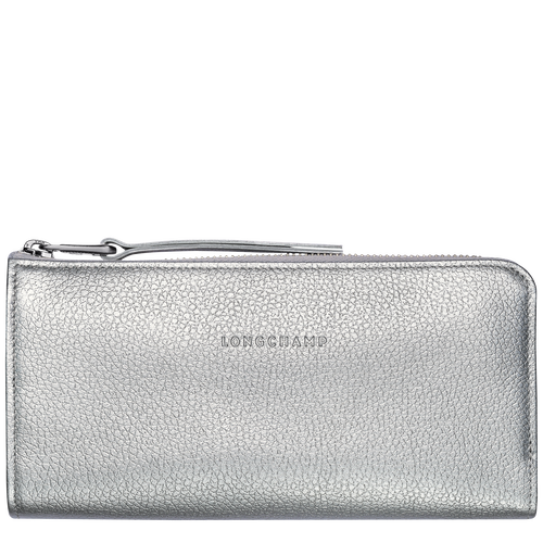 View 1 of Langformat Brieftasche mit Reissverschluss, Silber, hi-res