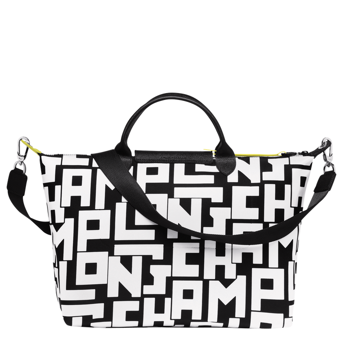 Bolso con asa superior L, Negro/Blanco - Vista 3 de 4 - ampliar el zoom