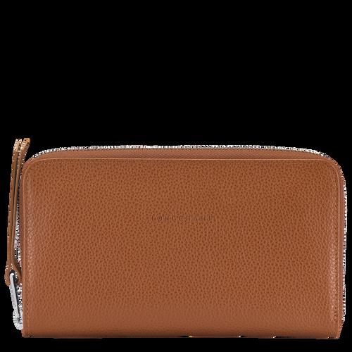 Le Foulonné Long zip around wallet, Caramel