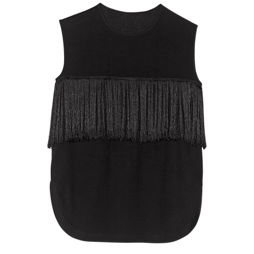 Sleeveless top, 001 Black, hi-res