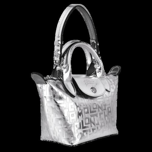 View 2 of Mini top-handle bag, Silver, hi-res