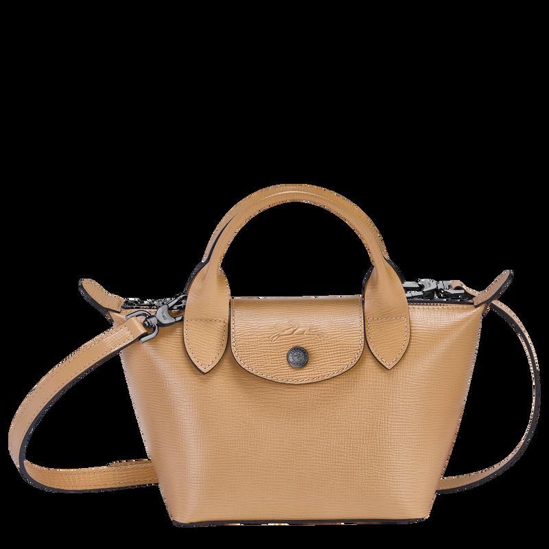 Le Pliage Cuir Top handle bag XS, Beige