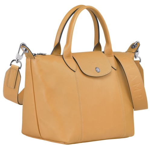 Le Pliage Cuir Top handle bag S, Honey