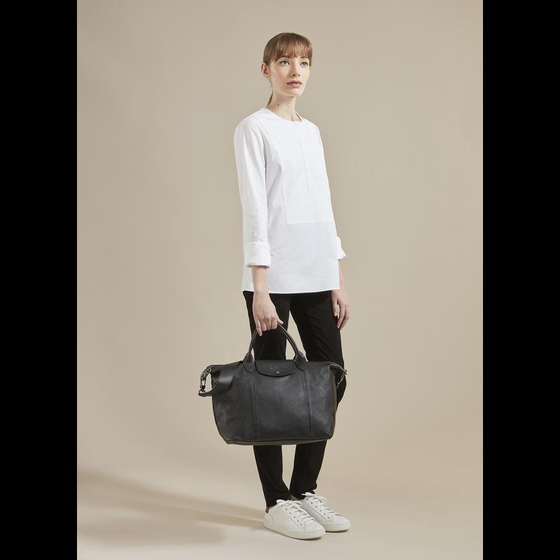 Le Pliage Cuir Top handle bag M, Honey