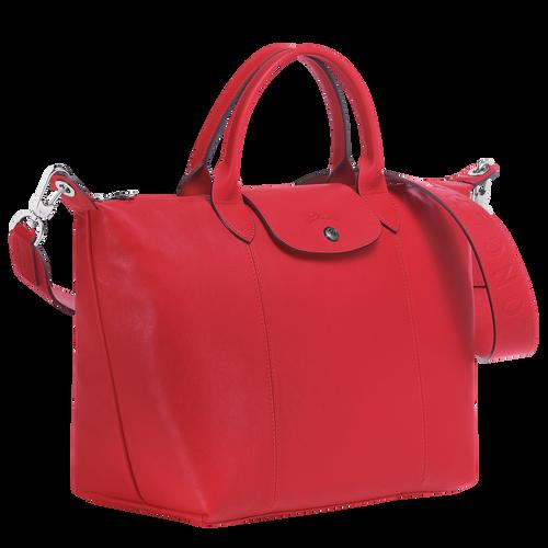 Le Pliage Cuir Bolso con asa superior M, Rojo