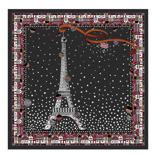 Fall-Winter 2021 Collection Silk scarf, Black