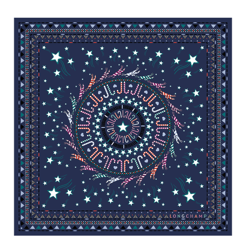 Silk scarf, Night Blue, hi-res - View 1 of 1