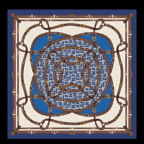 Colección otoño-invierno 2021 Pañuelo de seda, Azul