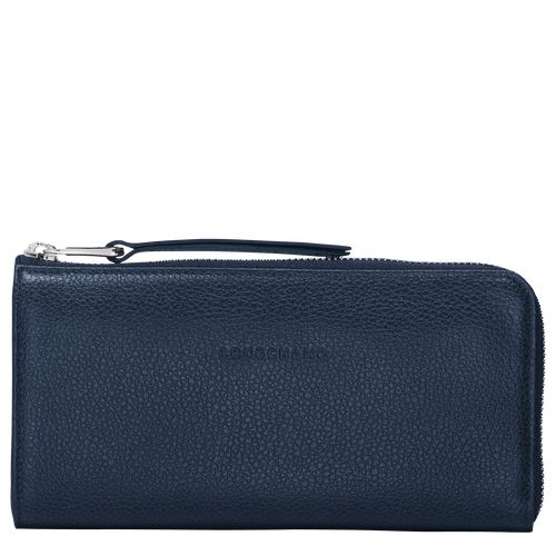 Le Foulonné Long zip around wallet, Navy