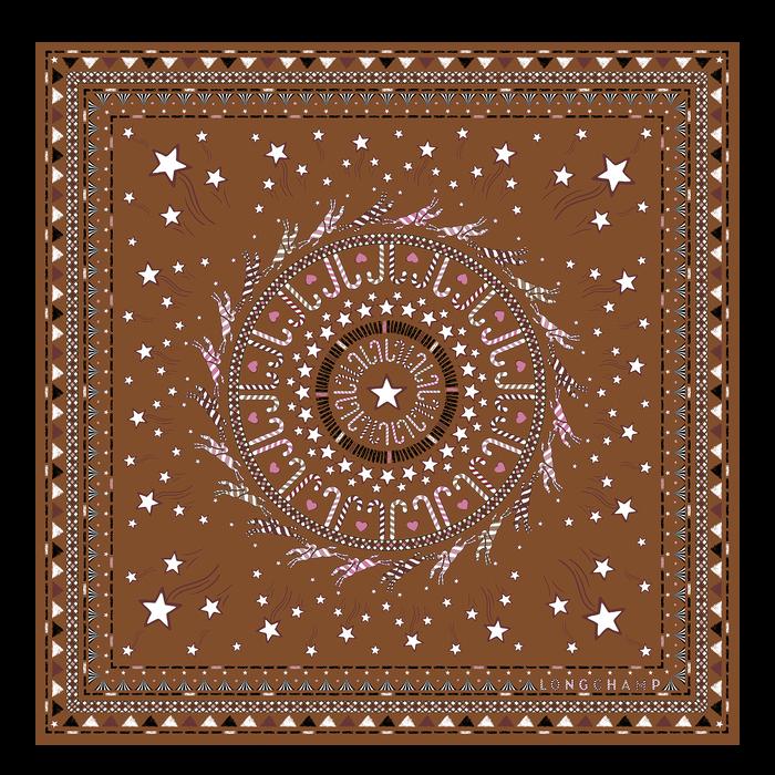 Fall-Winter 2021 Collection Silk scarf, Cognac