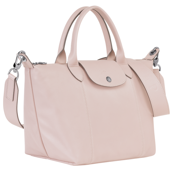 Le Pliage Cuir Top handle bag S, Pale Pink