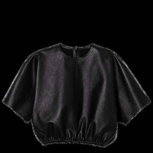 View 1 of Leather sweatshirt, 001 Black, hi-res