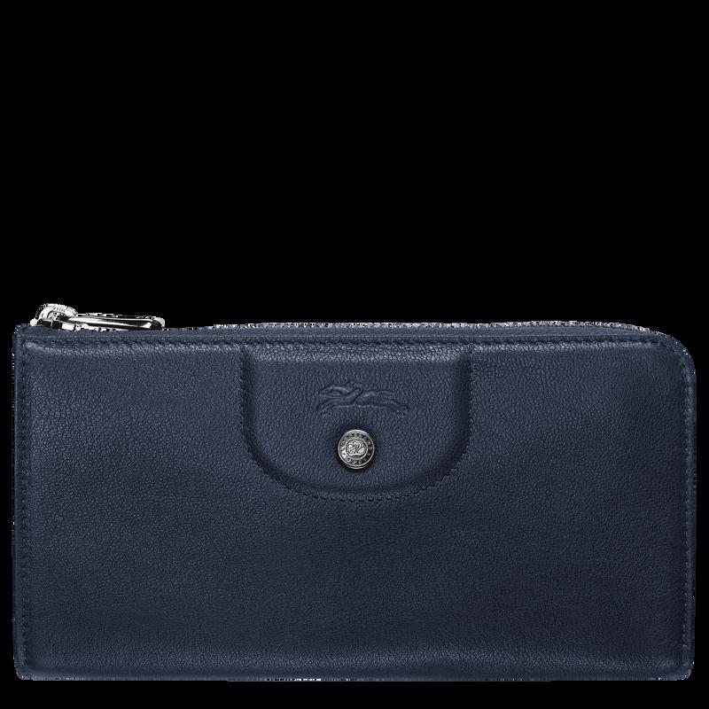 Le Pliage Cuir Long wallet with zip around, Navy
