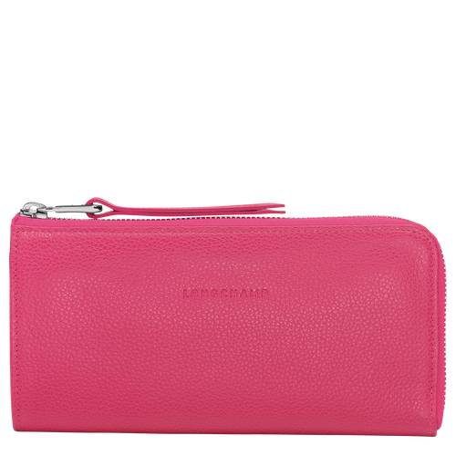 Long wallet with zip around Le Foulonné Pink/Silver (L3418021018) |  Longchamp CA