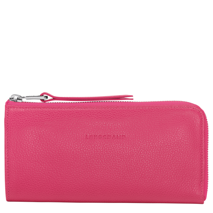 Le Foulonné Long wallet with zip around, Pink/Silver