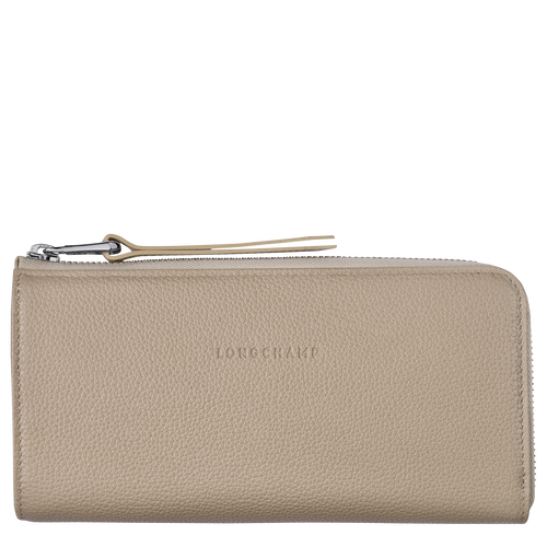 Le Foulonné Long wallet with zip around, Beige