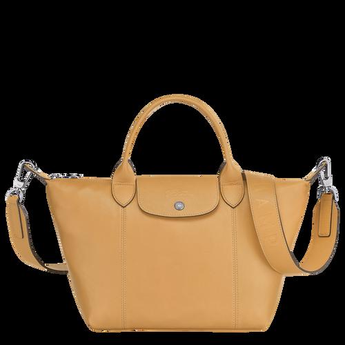 Le Pliage Cuir Top handle bag S, Honey