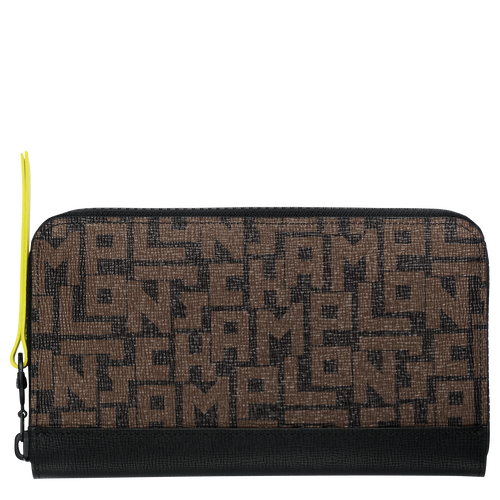 Zip around wallet, Black/Khaki, hi-res - View 1 of 2