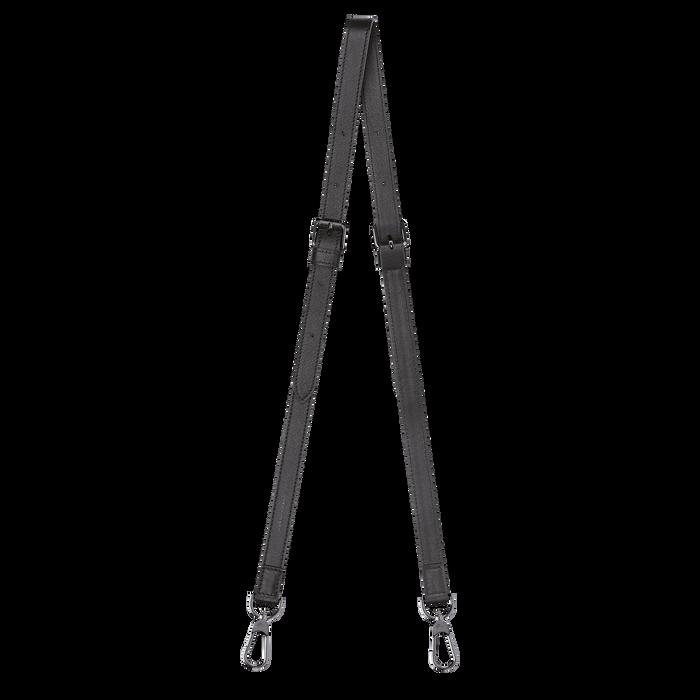 Le Pliage Cuir Leather shoulder strap, Black
