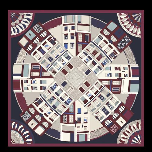 Zijden sjaal, Navy - Weergave 1 van  1 -