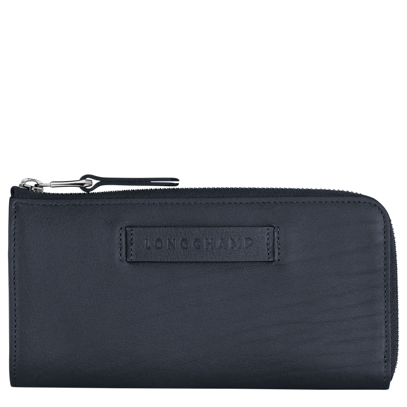 Longchamp 3D Long wallet with zip around, Midnight blue