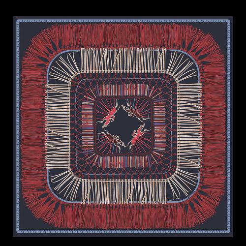 Colección primavera-verano 2021 Pañuelo de seda, Azul Oscuro