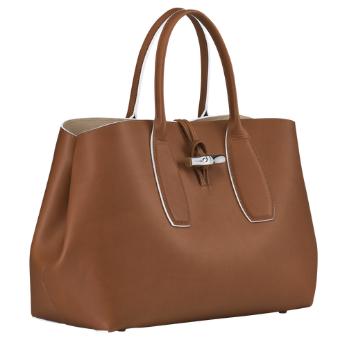 Roseau Top handle bag L, Cognac