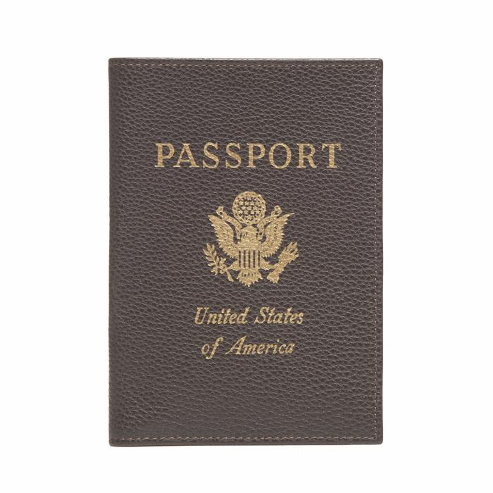 Le Foulonné Passport cover, Mocha