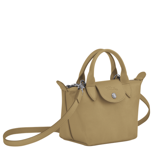 Le Pliage Cuir Top handle bag XS, Khaki