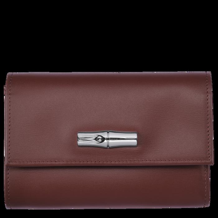 Portefeuille compact, Acajou - Vue 1 de 2 - agrandir le zoom