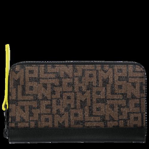 Langformat Brieftasche mit Reissverschluss, Schwarz/Khaki, hi-res - View 1 of 2