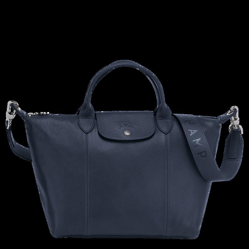 Le Pliage Cuir Top handle bag M, Navy