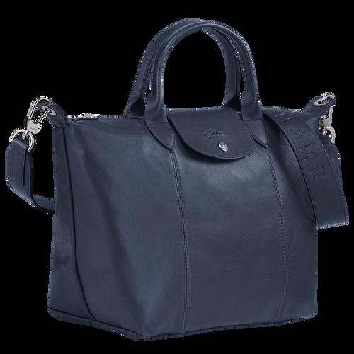Top handle bag M Le Pliage Cuir Navy (L1515757556) | Longchamp US