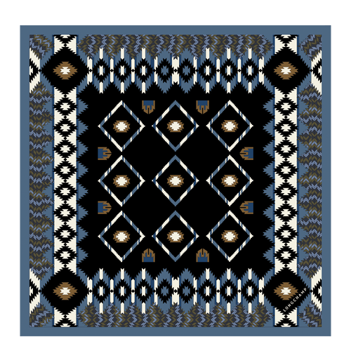 View 1 of Silk scarf, 006 Navy, hi-res